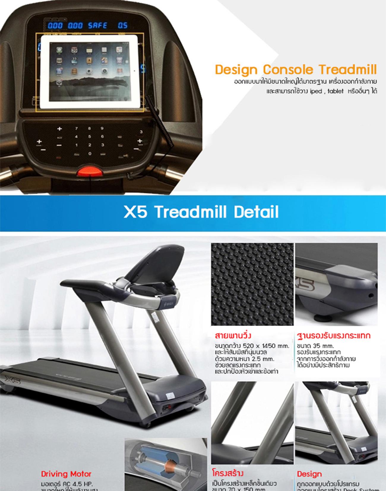ลู่วิ่งไฟฟ้า X5 Motorized Treadmill - AC 4.5 HP motor