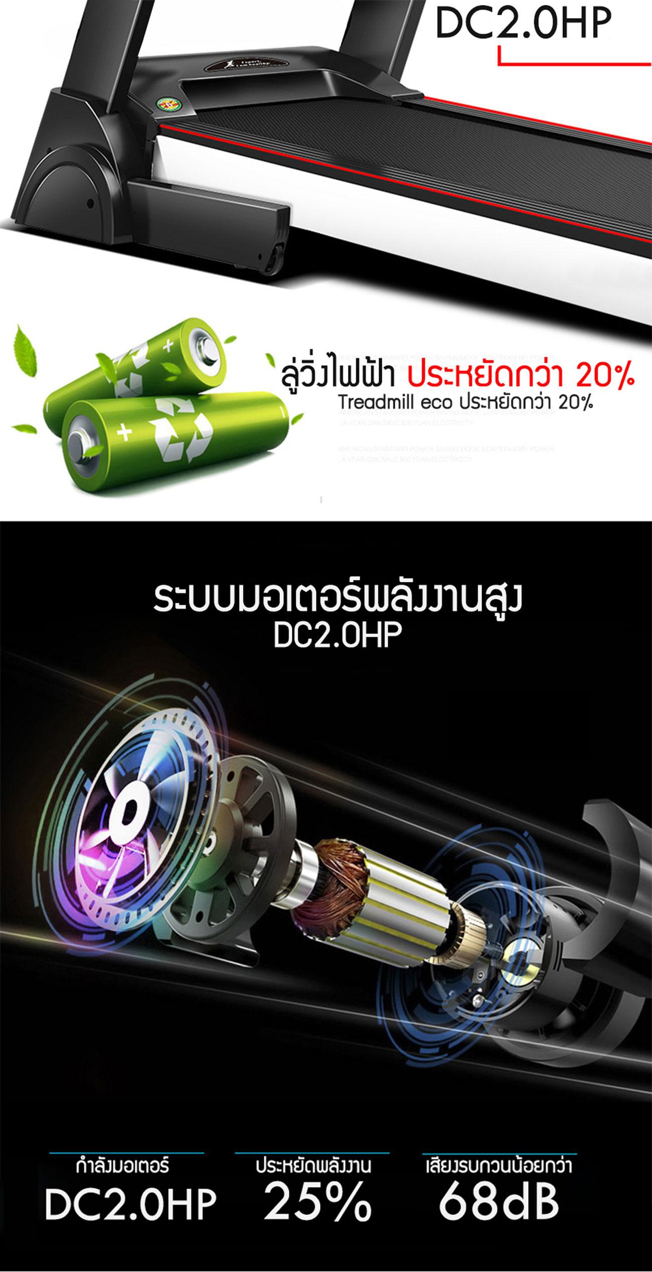 ลู่วิ่งไฟฟ้า ฟิตทูเฟิร์ม รุ่น DK-12AF - 2.0 CHP motor