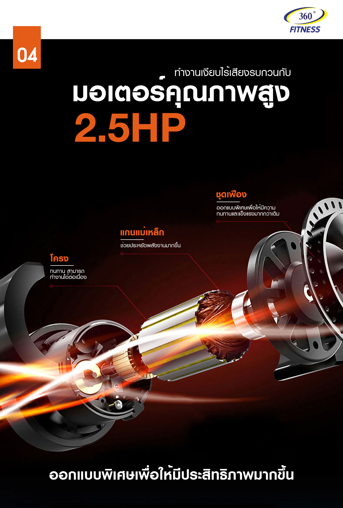 ลู่วิ่งไฟฟ้า 360องศา ฟิตเนส รุ่น X3 - 2.5 CHP motor