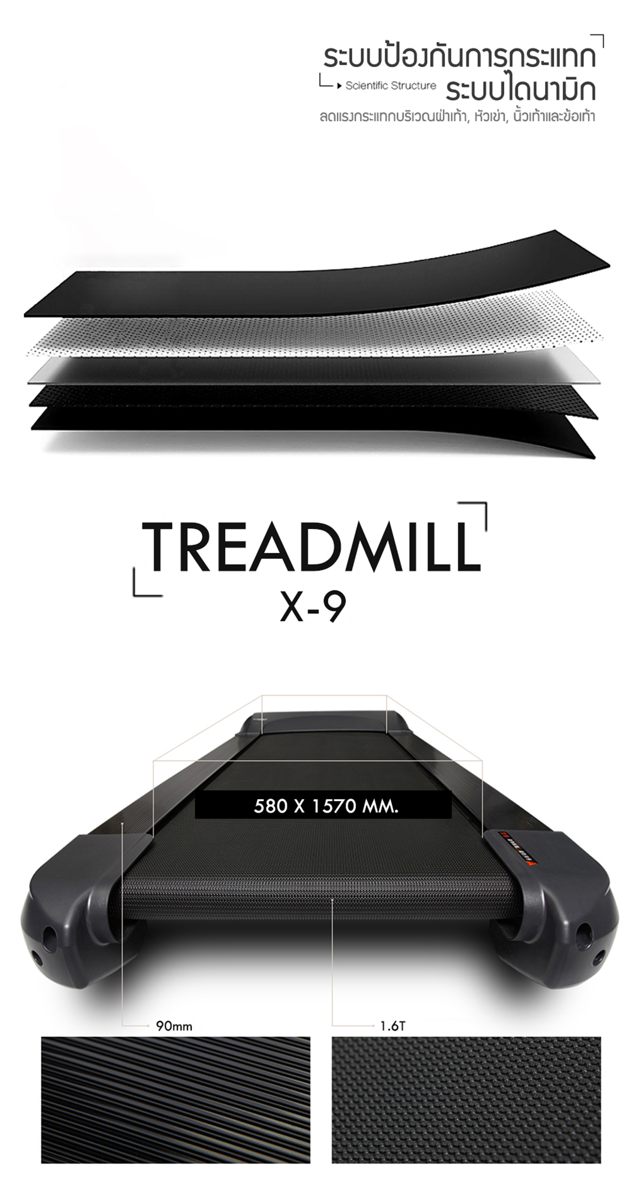 ลู่วิ่งไฟฟ้า X9 Motorized Treadmill - AC 6.0 HP motor