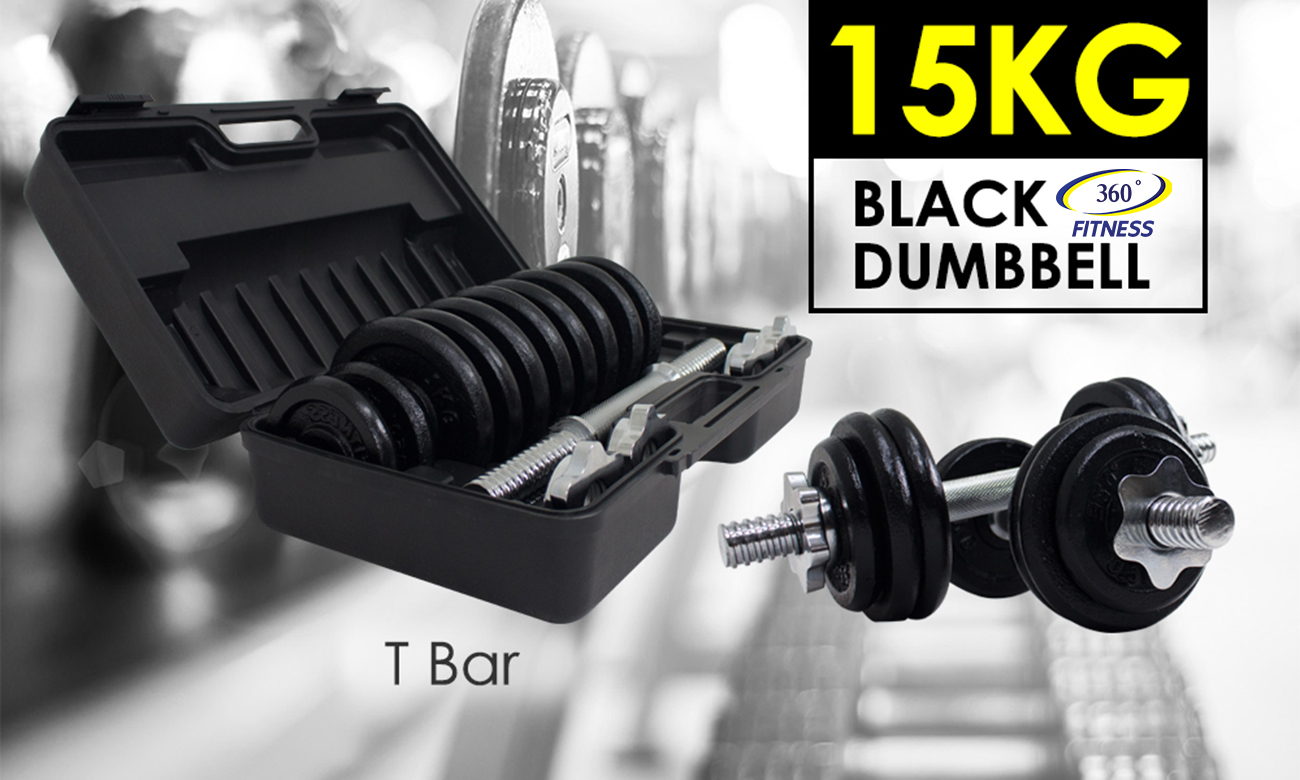 15KG BLACK DUMBBELL SET - T Bar