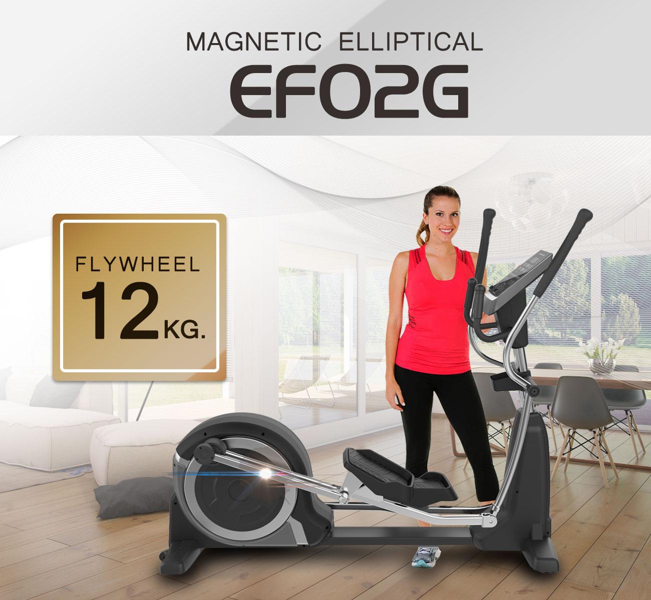 เครื่องเดินวงรี Electronic Magnetic Elliptical bike EF02G ( Flywheel 12 KG. )