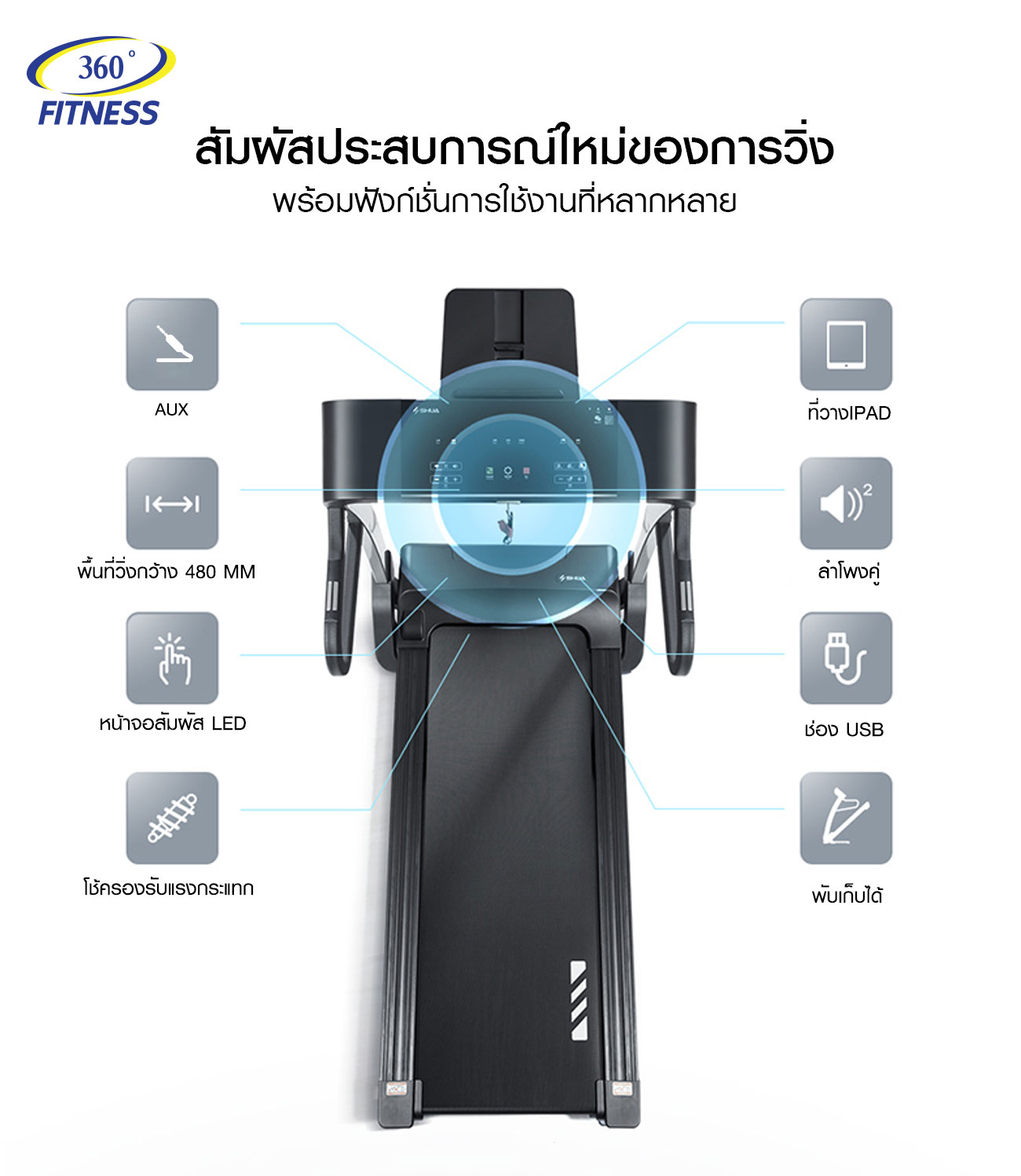 ลู่วิ่งไฟฟ้า 360องศา ฟิตเนส รุ่น A5 - DC 2.5 HP motor